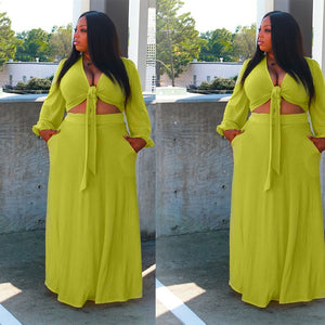 Crop Top High Waist Maxi Elegant Matching Skirt Set - Voluptuous Inc
