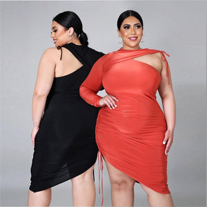 Sexy Irregular Midi Dress Fashion Single Sleeve Round Collar High Waist Casual Elegance Plus Size Dress Wholesale Dropshipping - Voluptuous Inc