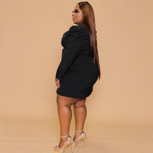 Suit Jacket Puff Sleeve Mini Dress Plus Size - Voluptuous Inc