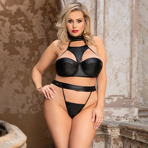 Faux Leather Choker Sexy Bra and Panty Set - Voluptuous Inc