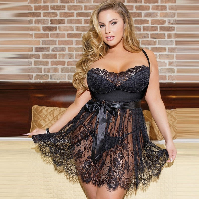 Women Lace Lingerie Sleepdress Plus Size Black Ladies Nightwear Sexy See Though Babydoll Underwear Spaghetti Strap Chemise - Voluptuous Inc