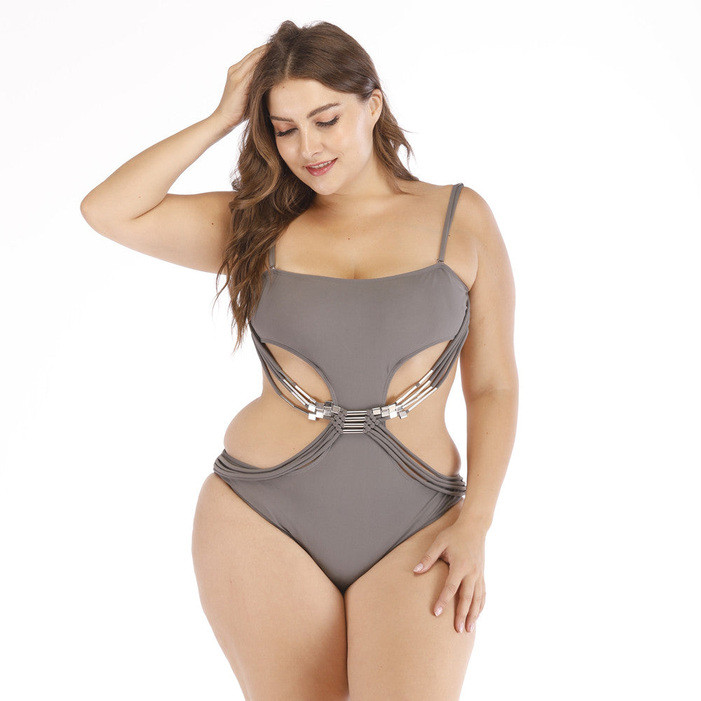 Buckle Trim Bandage Swimsuit - Voluptuous Inc