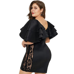 Cascading Ruffle Lace Bodycon Mini Dress Plus Size - Voluptuous Inc