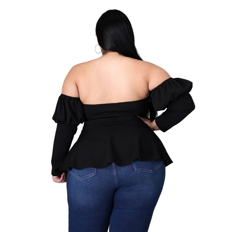 Off the Shoulder Sexy Black Peplum Blouse - Voluptuous Inc