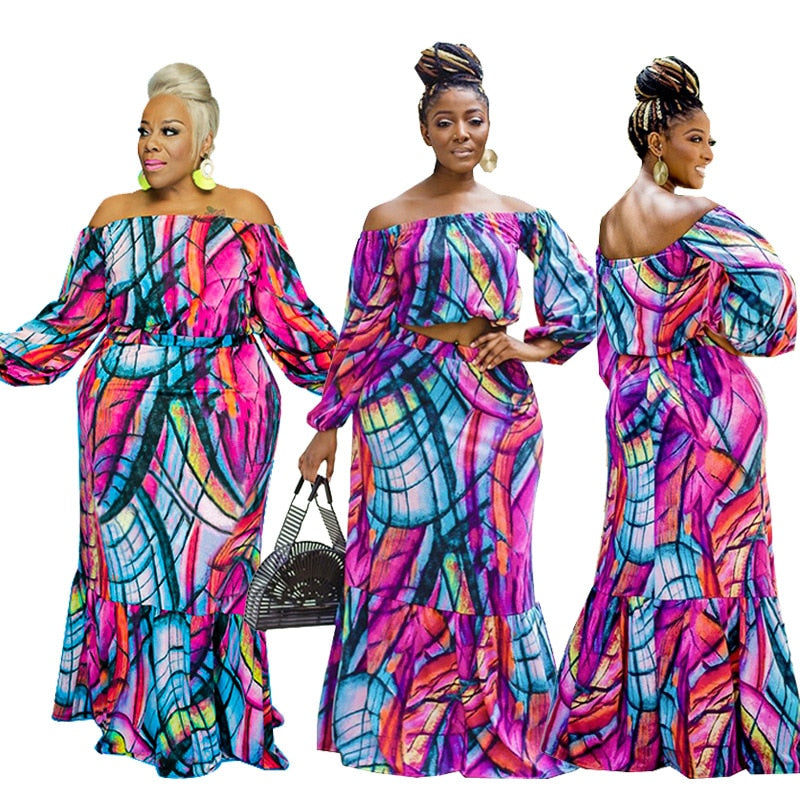 Colourful Stripe Off Shoulder Maxi Skirt Set - Voluptuous Inc