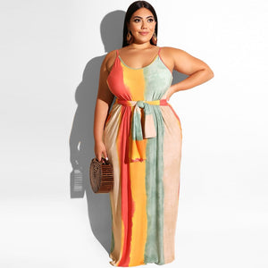 Striped Maxi Slip Loose Oversized Dress - Voluptuous Inc