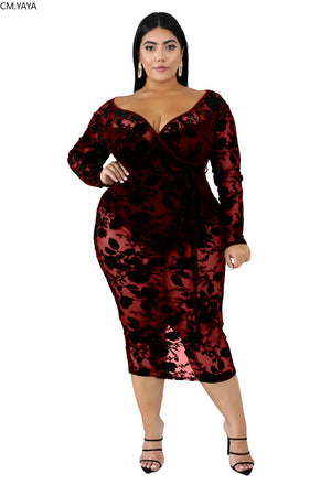 Mesh Sheer Floral Mid Dress Plus Size - Voluptuous Inc