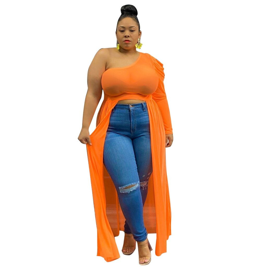 One Shoulder Cocktail Maxi Blouse Plus Size - Voluptuous Inc