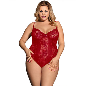 Sexy Teddy Sheer Mesh Bodysuit Lingerie Plus Size - Voluptuous Inc