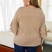 Ruffled Sleeved Sweater Plus Size - Voluptuous Inc