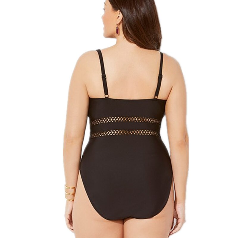 Mesh Insert High Waist Swimsuits Plus Size - Voluptuous Inc
