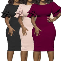 Lantern Sleeve Midi Party Dress Plus Size - Voluptuous Inc