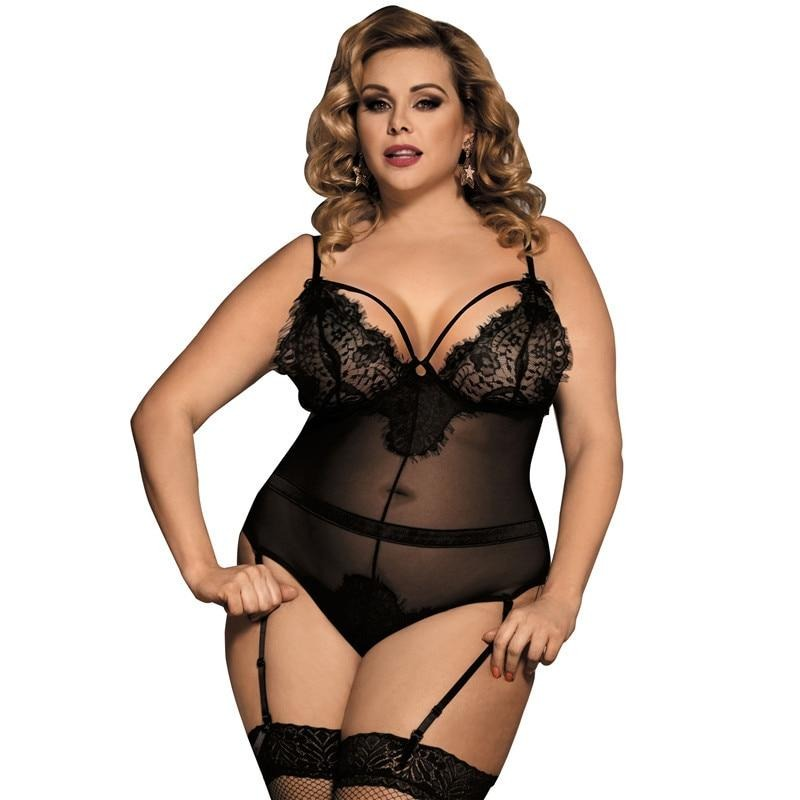 Body Femme Sexy Teddy Sheer Mesh Lady Bodysuit Plus Size Transparent Sexy Bodysuit Lace Women Body Suit Rompers RE80266 - Voluptuous Inc