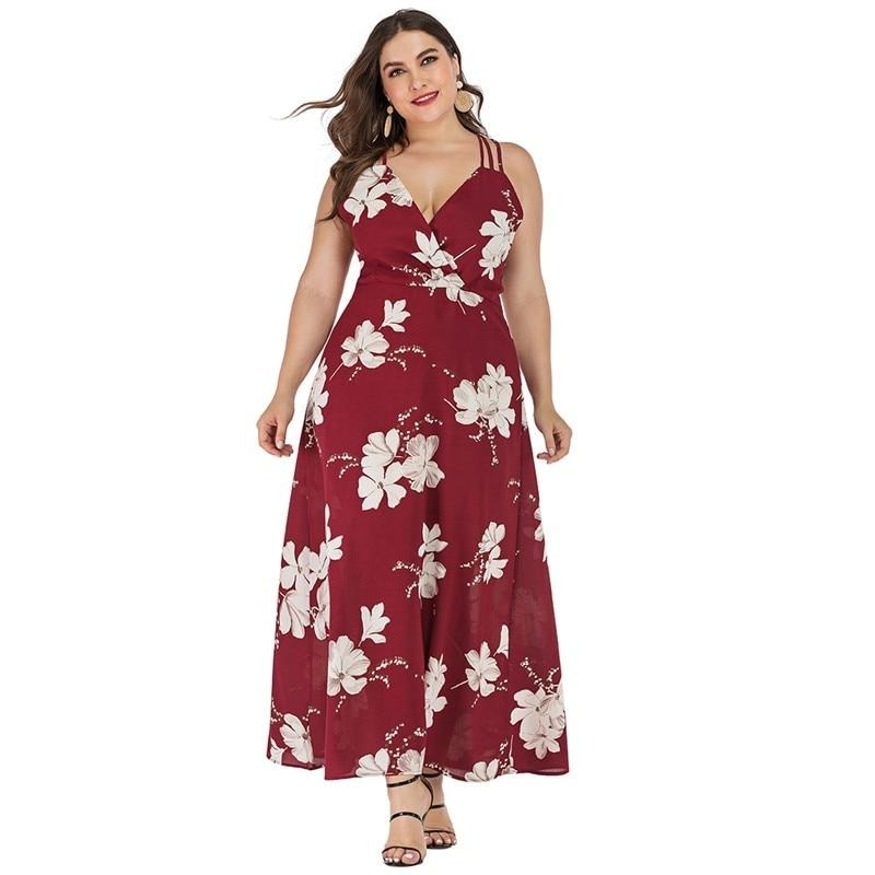 5XL 6XL Plus Size Summer Beach Dress Women v Neck Sleeveless Floral Boho Dresses String Cross Backless Sexy Maxi Long Dress - Voluptuous Inc
