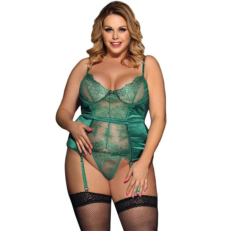 Satin Lace Trim Babydoll Lingerie Plus Size - Voluptuous Inc