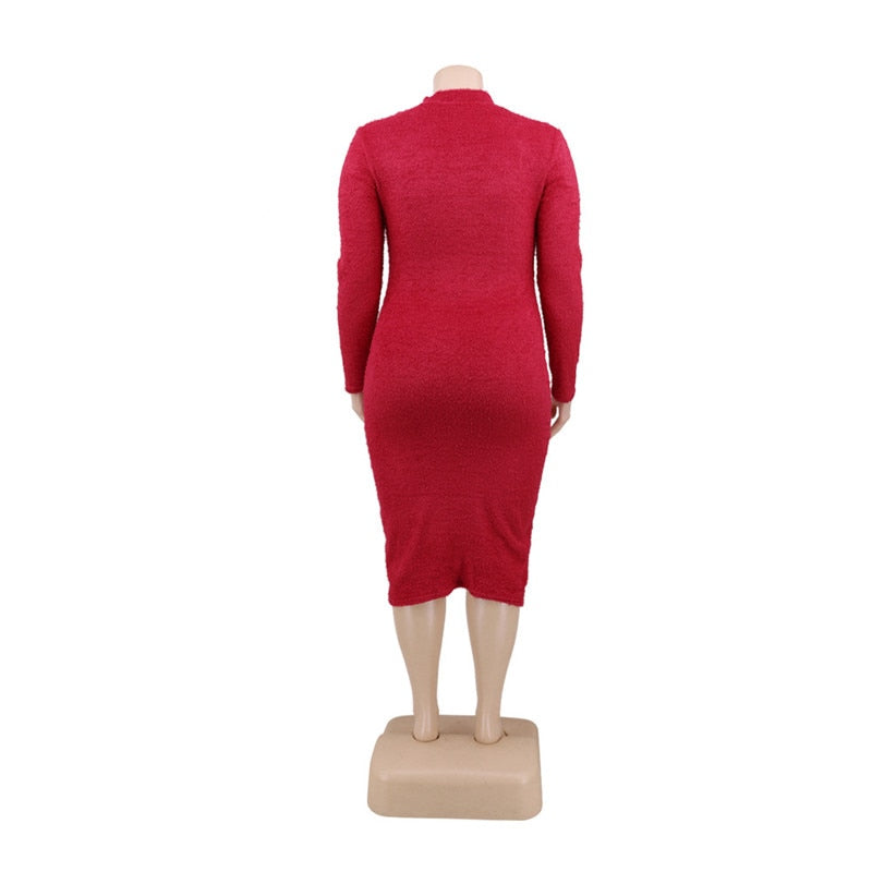 Cut Out  Bodycon Knit Midi Dress - Voluptuous Inc