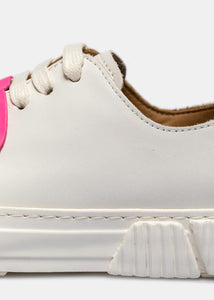 White & Pink Rubber Patch Sneakers