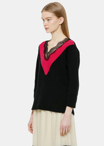 Black & Pink Lace Trim Sweater