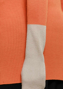 Orange Rib Zip-Up Sweater