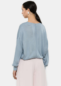 Ice Blue Appliquéd Knit Sweater