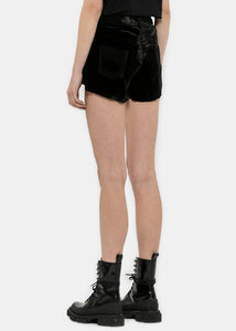 Black Velvet Lace-Up Shorts