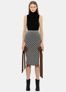 Grey Bow-Tie Diamond-Grid Pearl Skirt