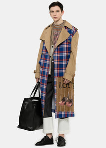 Camel Check Panel Trench Coat