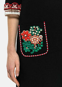 Black Floral Beaded Dress