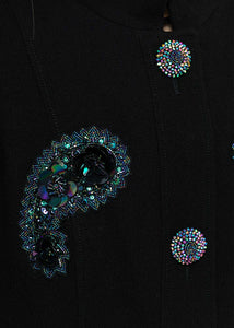 Black Paisley Beaded Coat