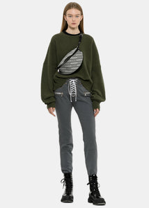 Grey Overdyed Lace-Up Skinny Jeans