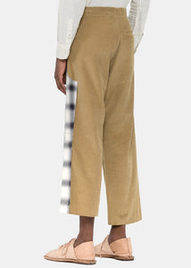 Khaki Spliced Corduroy Trousers