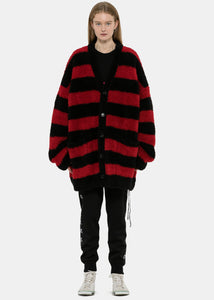 Black & Red Striped Logo Cardigan