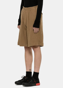 Beige Boiled Wool Shorts