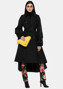 Black Pinstripe Pleated Trench Coat