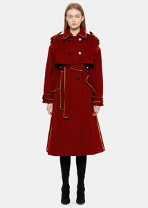 Red Double Breasted 'Split' Trench Coat