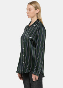 Green Striped Pajama Shirt
