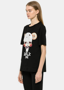 "Black ""Walk Me"" Puppy T-Shirt"