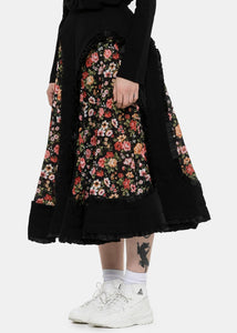 Black Deconstructed Padded Floral Skirt