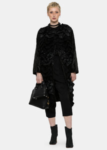 Black Reversible Frill Coat