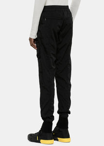 Black Mixed Material Cargo Joggers