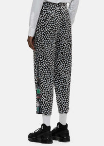 Flocked Pebbles Print Cropped Trousers