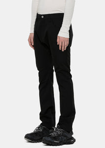 Black Laminated Tropical Wool Pants