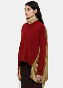 Red & Mustard Panelled Sweater