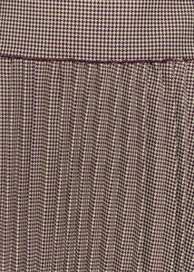 Brown Houndstooth Pleated Skirt