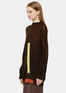 Brown & Lime Crater Knit Sweater