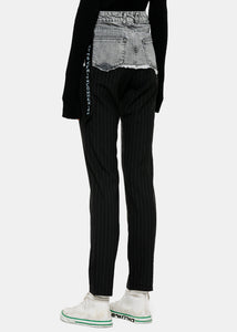 Black Spliced Denim & Wool Trousers