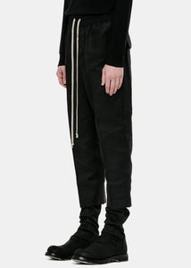 Black Cropped Drop-Crotch Trousers
