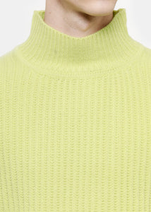 Lime Oversize Fisherman Turtleneck Sweater