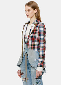 Red Plaid & Vintage Denim Jacket