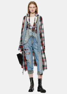 Red Plaid & Vintage Denim Asymmetrical Kimono